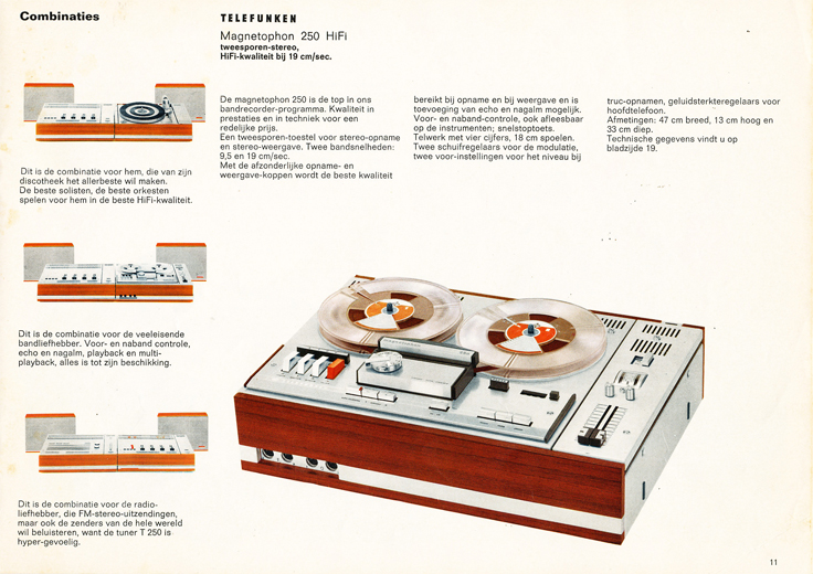 1969 brochure from Amsterdam Holland for the AEG Telefunken Magnetophon products in Reel2ReelTexas.com's vintage recording collection