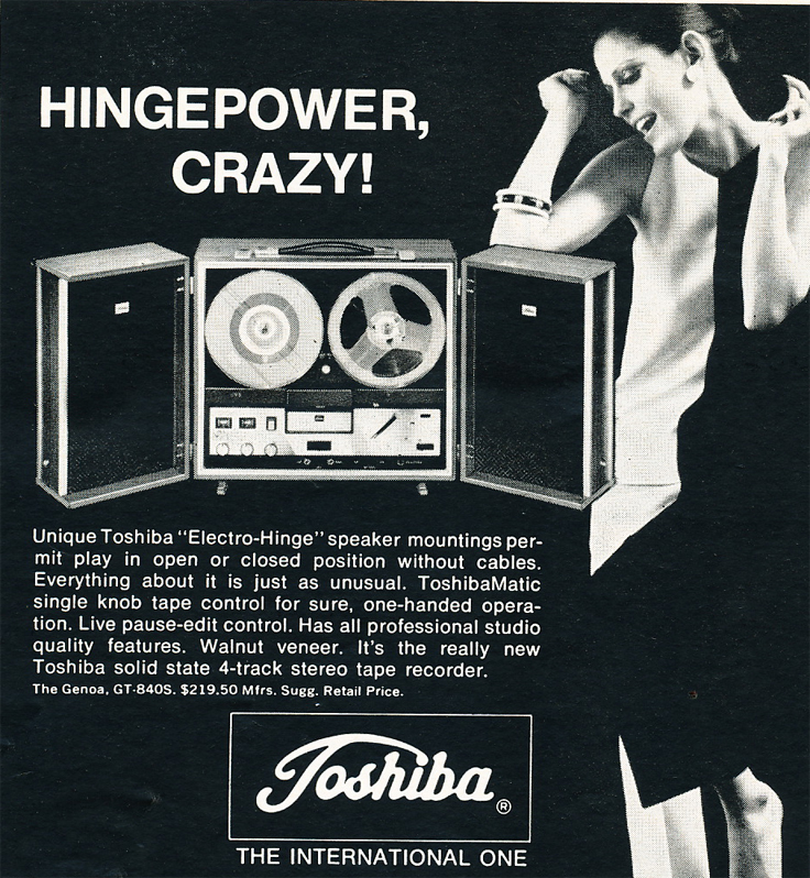 Toshiba  reel to reel tape recorder ad in the Reel2ReelTexas.com vintage recording collection