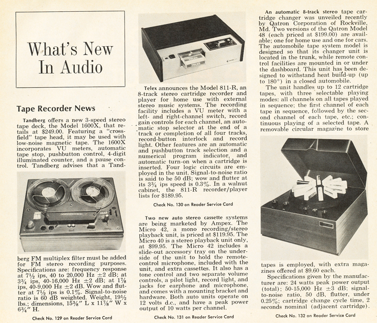 1969 article on What's new in Tape Recording