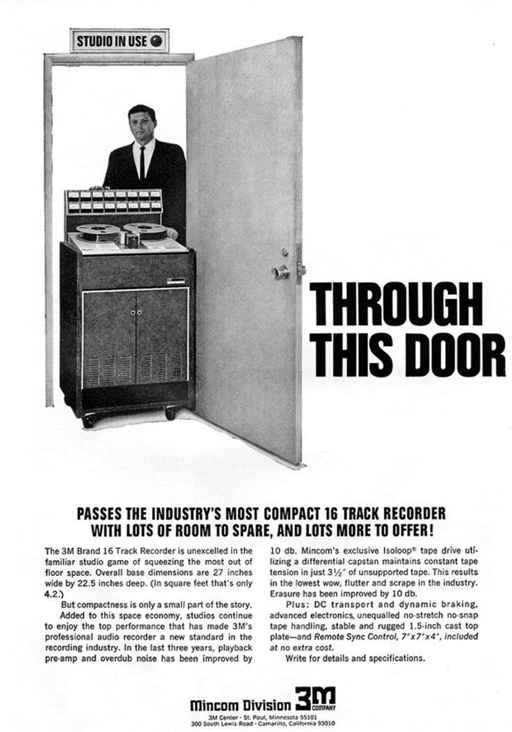 1970 ad for the 3m 16 track professional reel to reel tape recorder in Reel2ReelTexas' vintage recording collection