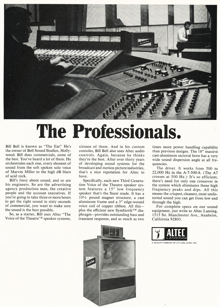 1970 ad for Altec professional sound products in   Reel2ReelTexas.com's vintage recording collection