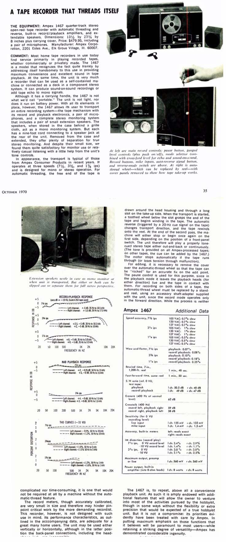 1970 Review of the Ampex 1467 reel to reel tape recorder in the Reel2ReelTexas.com vintage recording collection