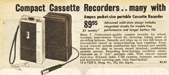1970 ad for the Ampex Mirco 7 cassette recorder  in Phantom Production's vintage recording collection