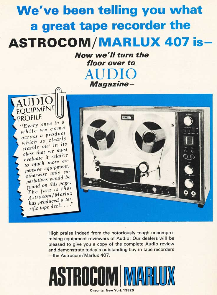 1970 ad for the Astrocom/Marlux 407 reel tape recorder in Reel2ReelTexas.com's vintage recording collection