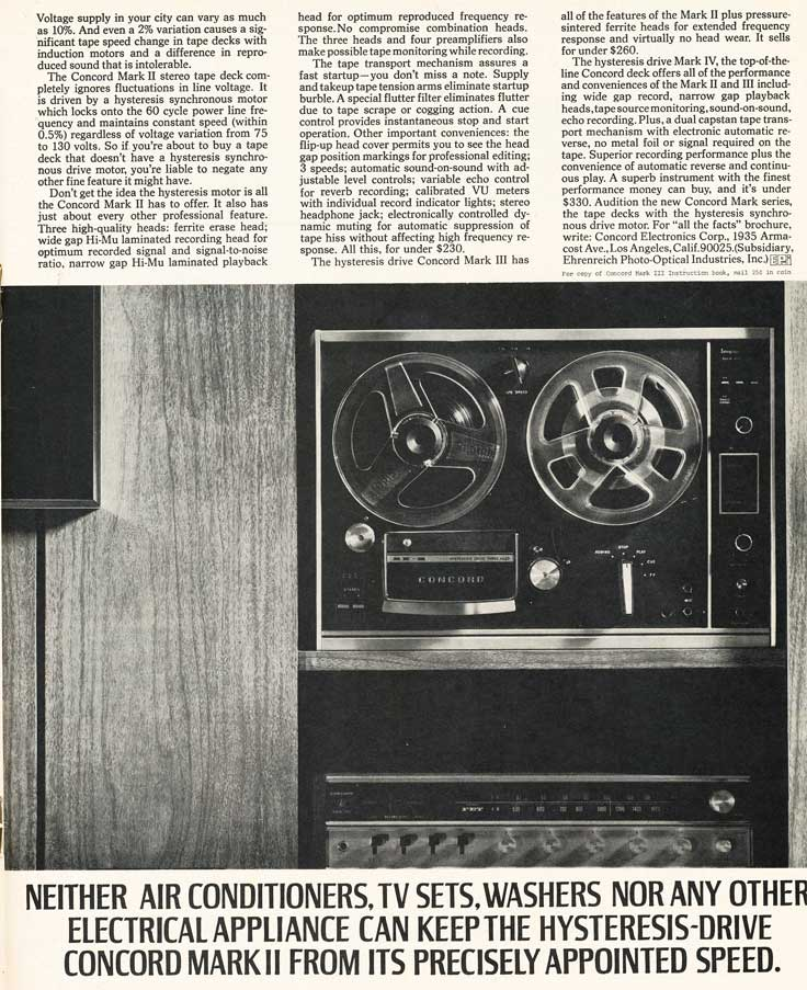 1970 Concord Mark II reel tape recorder ad in Reel2ReelTexas.com's vintage recording collection