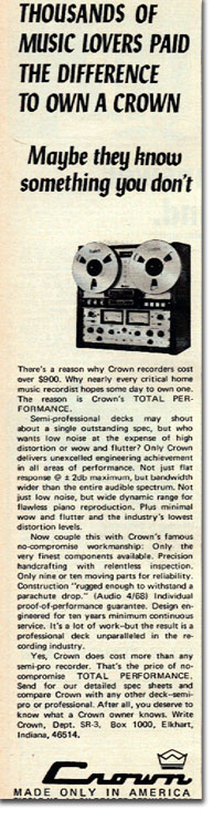 picture of Crown tape recordeer ad