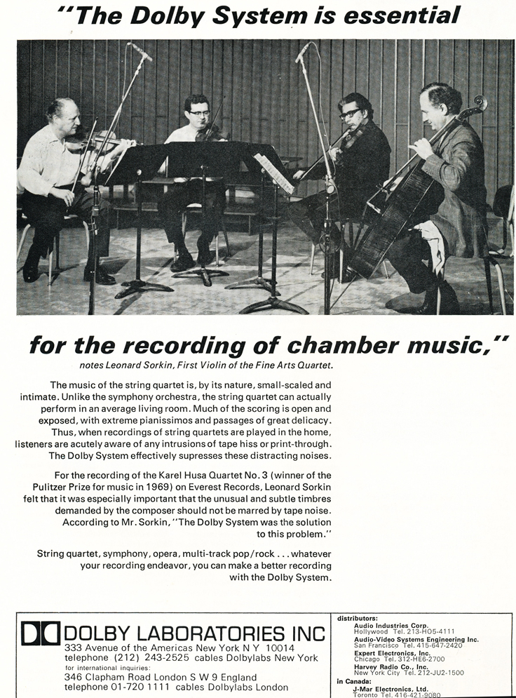 1970 ad for Dolby Laboratories in Reel2ReelTexas.com's vintage recording collection