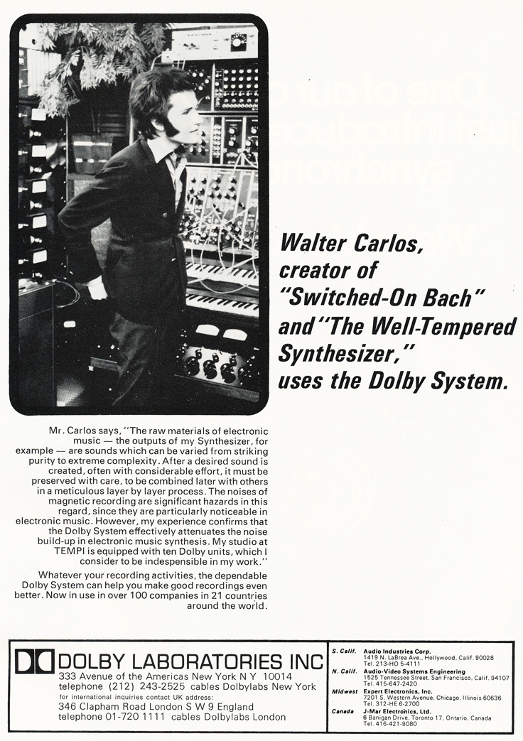 1970 ad for Dolby noise reduction  products in Reel2ReelTexas.com's vintage recording collection