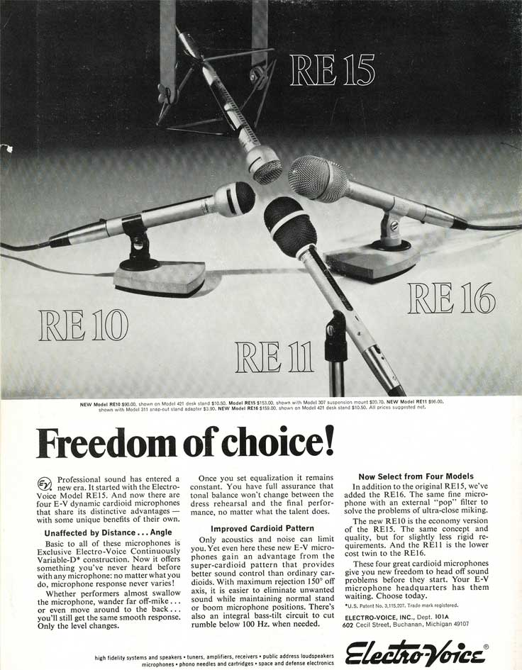 1970 Electro Voice RE15 microphone ad in Reel2ReelTexas.com's vintage recording collection