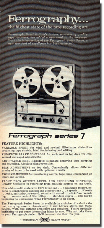 picture of a 1970 Ferrograph ad