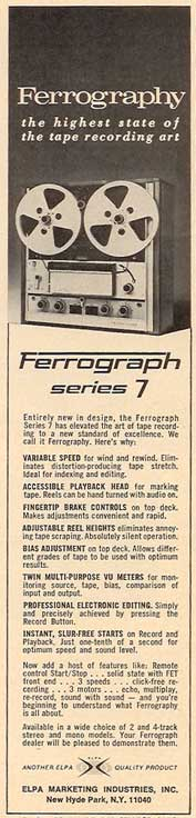 1970 ad for the Ferrograph ad in Reel2ReelTexas' vintage reel to reel tape recorder collection