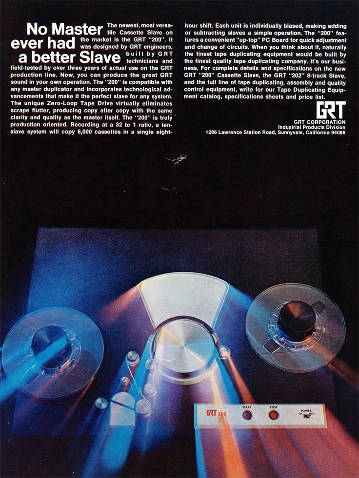 1970 ad for GRT in Reel2ReelTexas.com's vintage recording collection