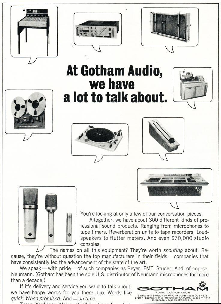 1970 ad for Gotham Audio in Reel2ReelTexas.com's vintage recording collection