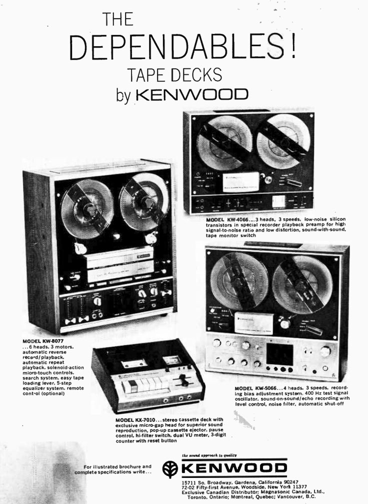 1970 ad for the Kenwood reel to reel tape recorders  in Reel2ReelTexas' vintage reel to reel tape recorder collection