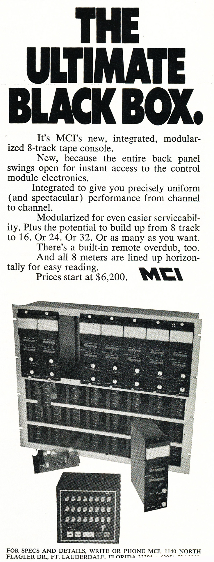 1970 ad for MCI recording console modules in Reel2ReelTexas.com's vintage recording collection