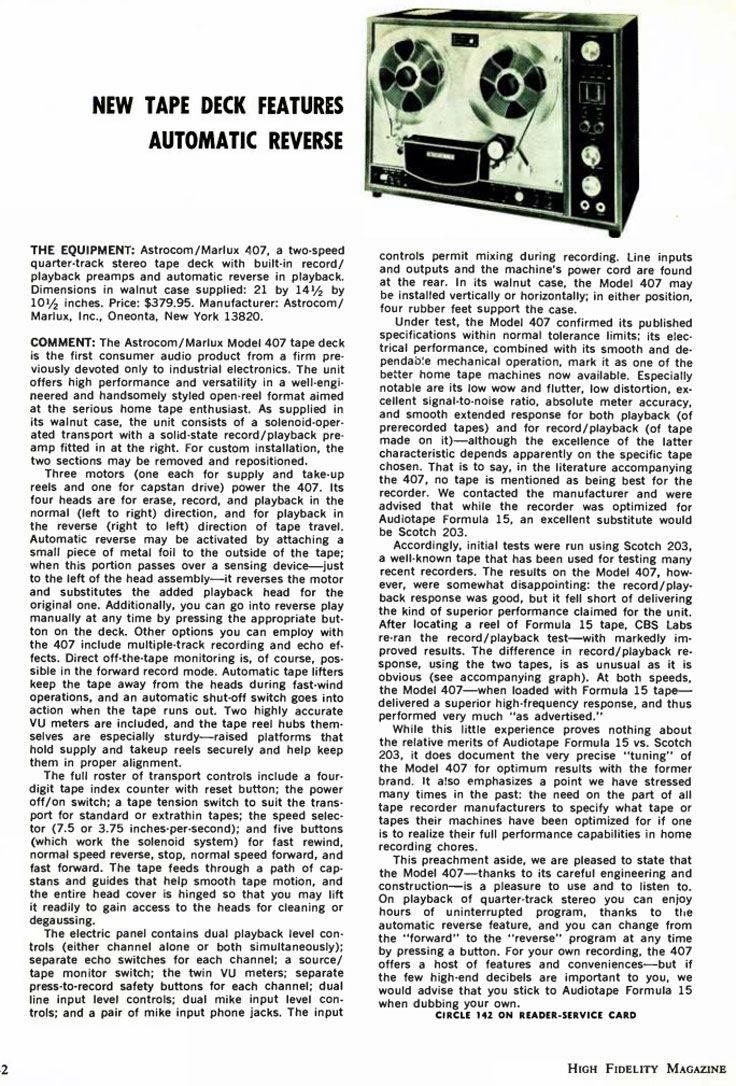 1970 HiFi Review of the Astrocom/Marlux 407 reel tape recorder in Reel2ReelTexas.com's vintage recording collection