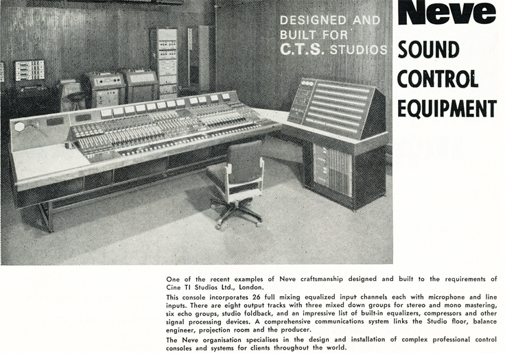 1970 ad for Neve recording consoles in Reel2ReelTexas.com's vintage recording collection