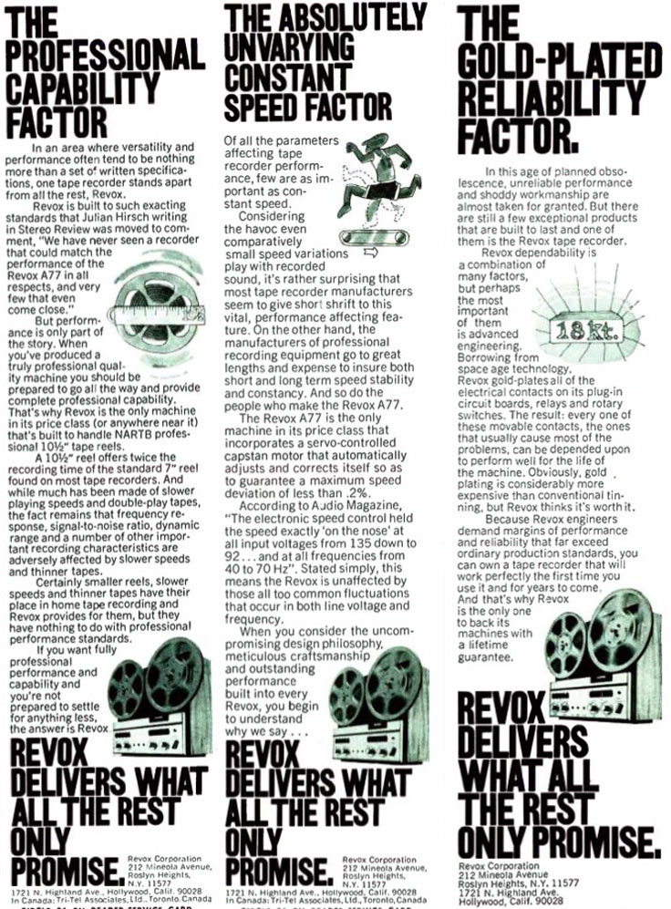 1970 ad for the ReVox A77 reel to reel tape recorder in Reel2ReelTexas.com's vintage recording collection