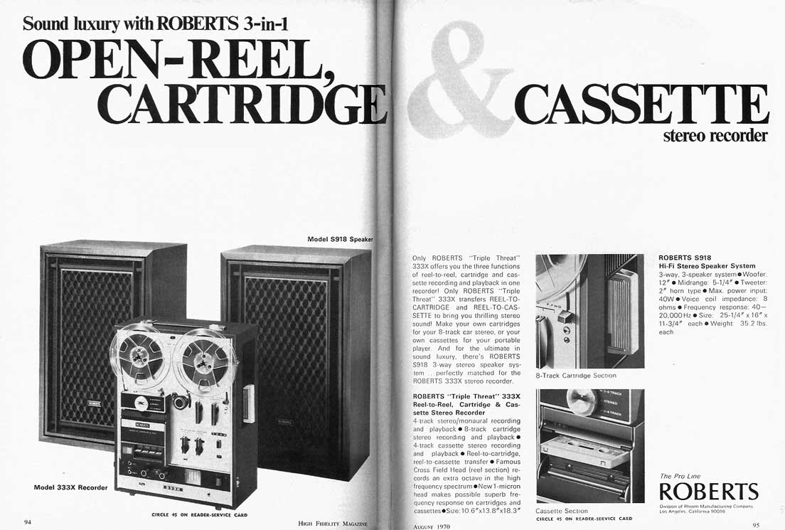 1970 ad for the Roberts 333X ad in Reel2ReelTexas' vintage reel to reel tape recorder collection