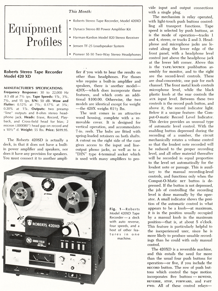 1070 review of the Roberts 420XD reel to reel tape recorder in   Phantom Productions' vintage recording colection