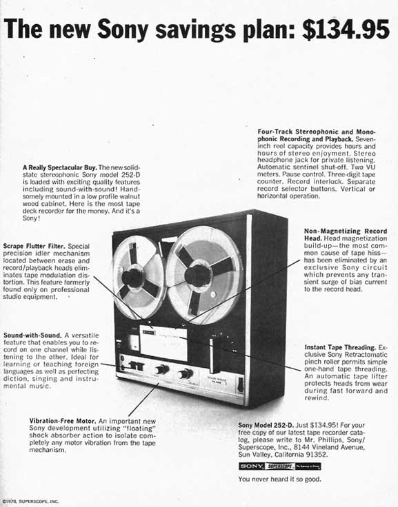 1974 Sony TC-252D reel to reel tape recorder ad in Phantom Productions vintage recording collection