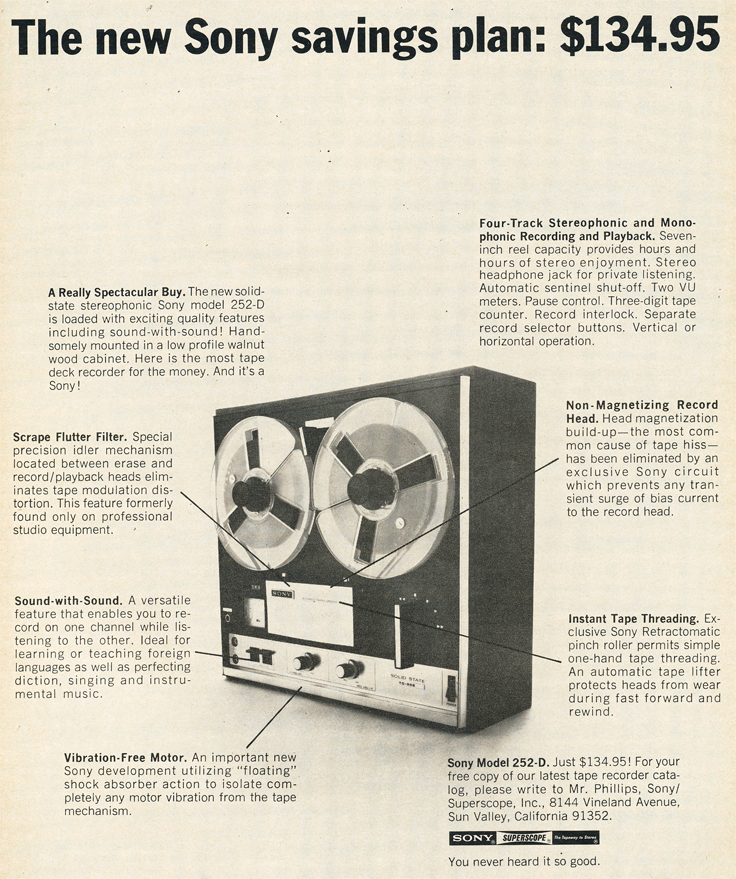 1970 ad for the Sony 252D reel to reeel tape recorder in Reel2ReelTexas.com's vintage recording collection