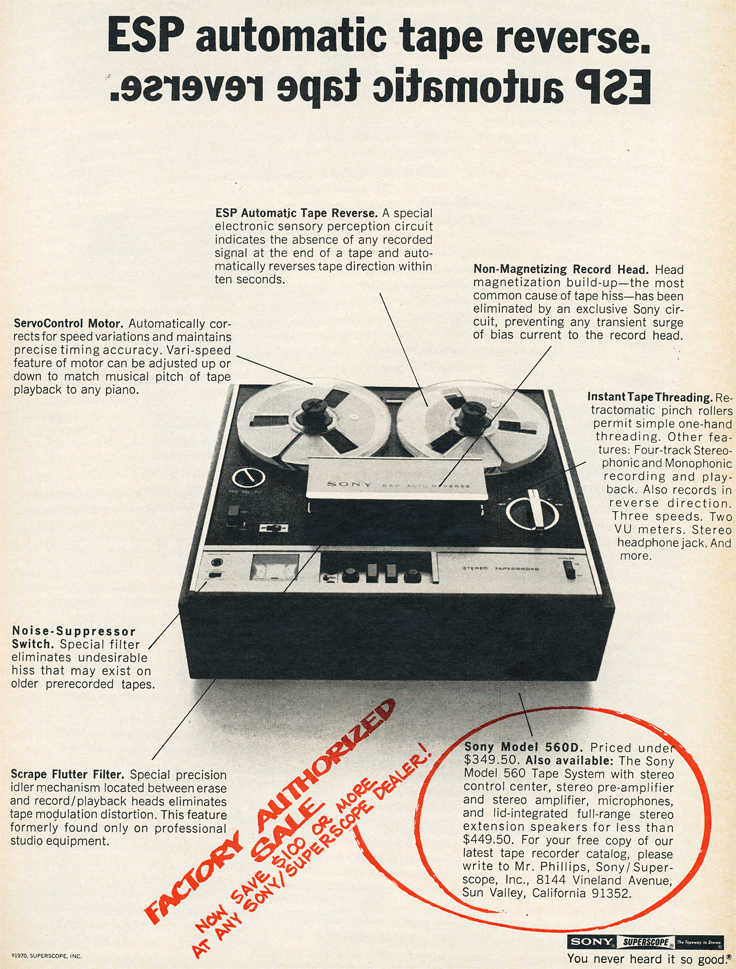 1970 ad for the Sony 560 reel to reel tape recorder  in Reel2ReelTexas.com's vintage recording collection