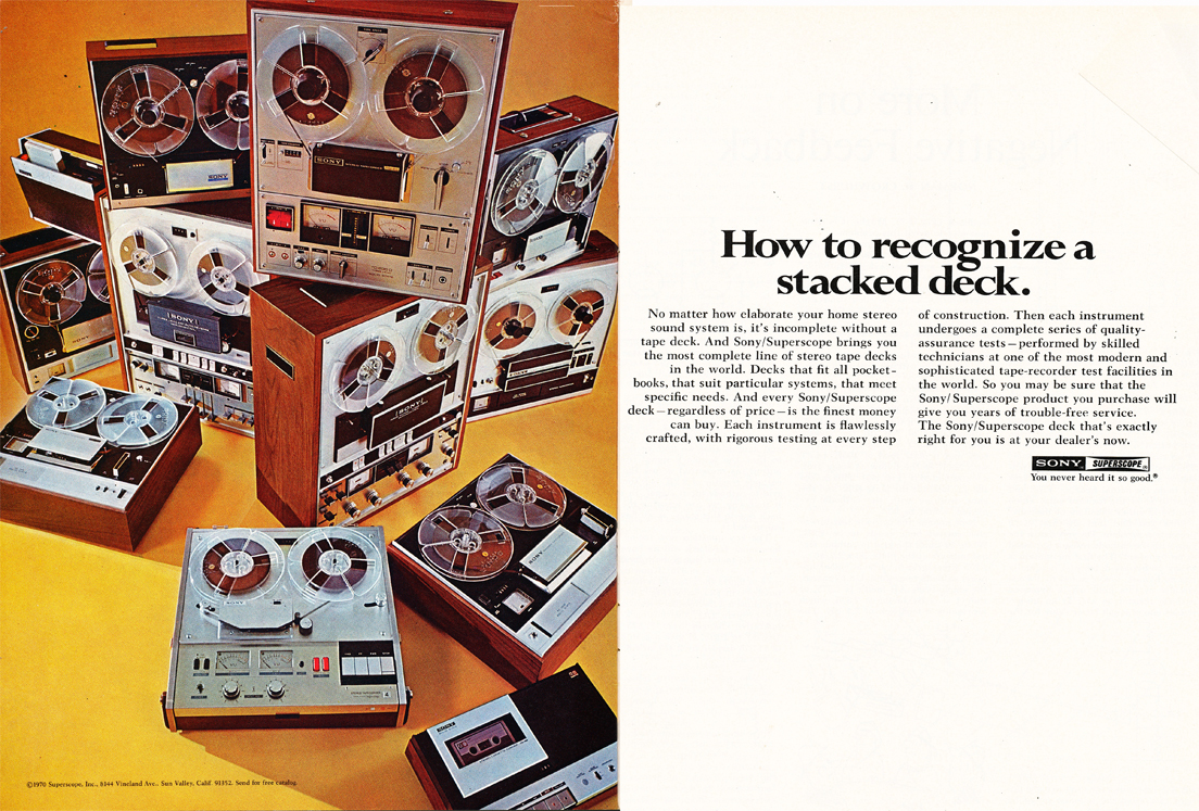 1970 ad for Sony reel to reel tape recorder  products in Reel2ReelTexas.com's vintage recording collection