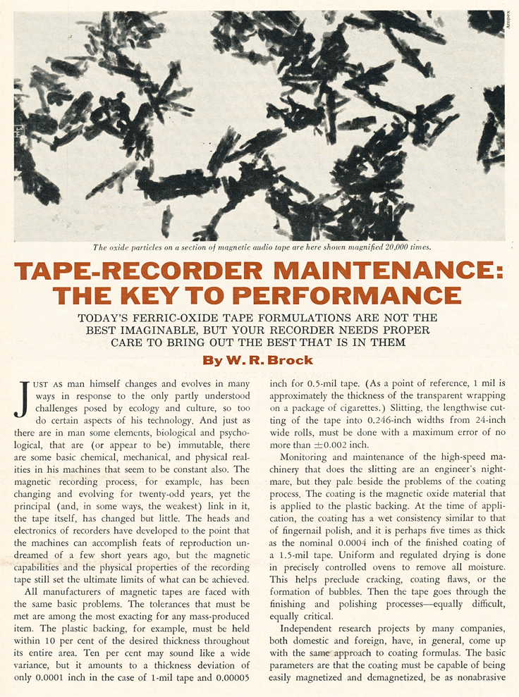 1970 article about how to maintain the reel to reel tape rcorder in   Reel2ReelTexas.com's vintage recording collection