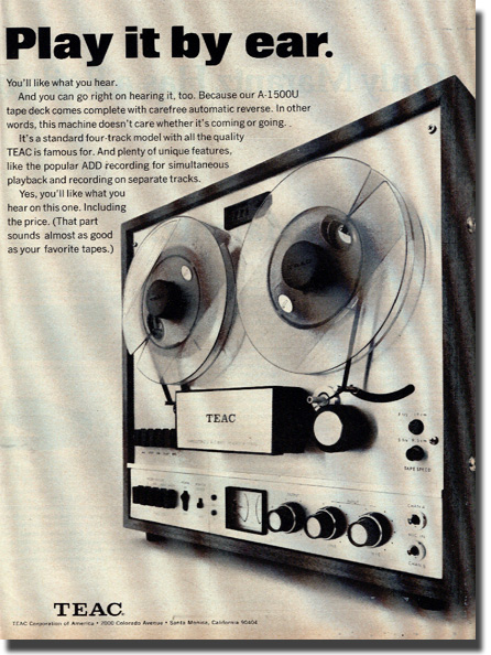 picture of Teac tape recorder ad from 1970