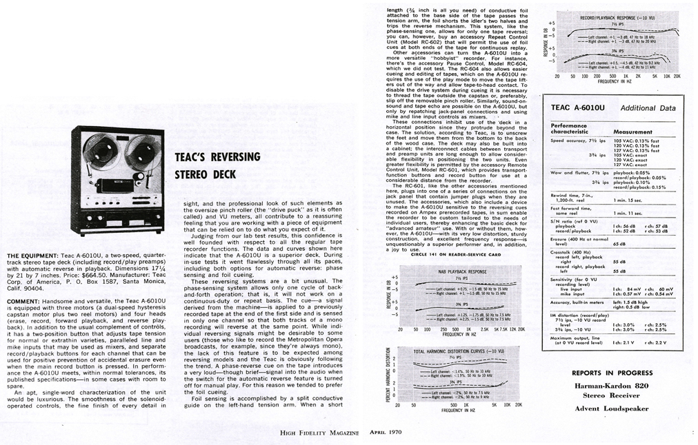 1970 review of the Teac A-6010U reel to reeel tape recorder in Reel2ReelTexas.com's vintage recording collection