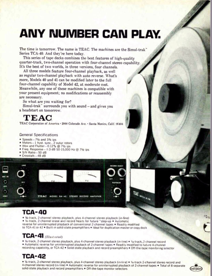 1970 ad for the Teac TCA-40 ad in Reel2ReelTexas' vintage reel to reel tape recorder collection
