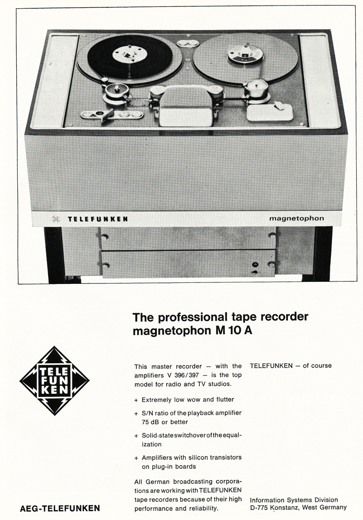 1970 ad for the Telefunken Magnetophon M 10 A professional reel to reel tape recorder in   Reel2ReelTexas.com's vintage recording collection