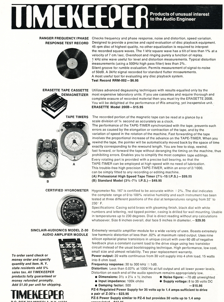 1970 ad for TimeKeeper reel to reel tape timers in Reel2ReelTexas.com's vintage recording collection