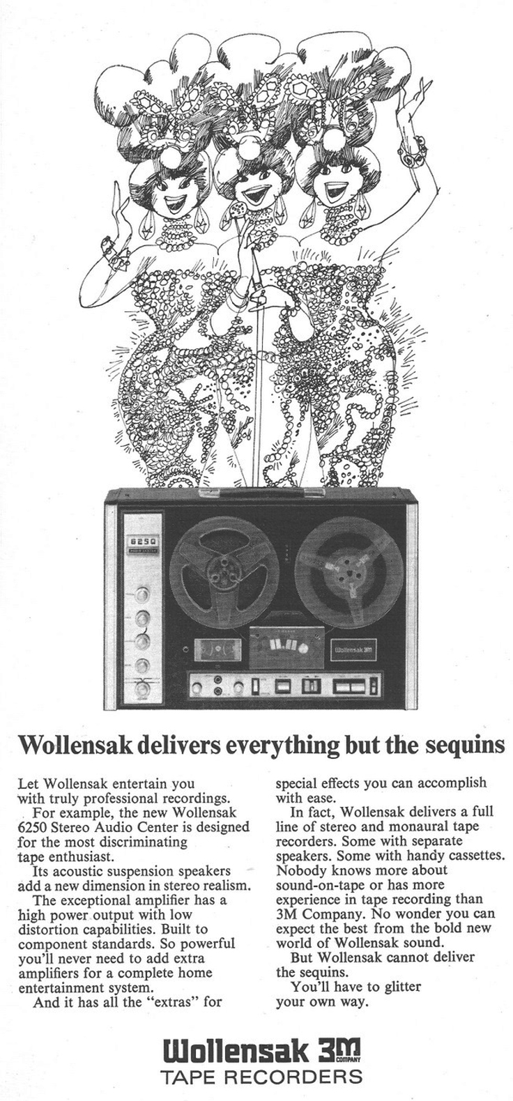 1970 ad for the Wollensak 6250 reel to reel tape recorder in Reel2ReelTexas.com's vintage recording collection