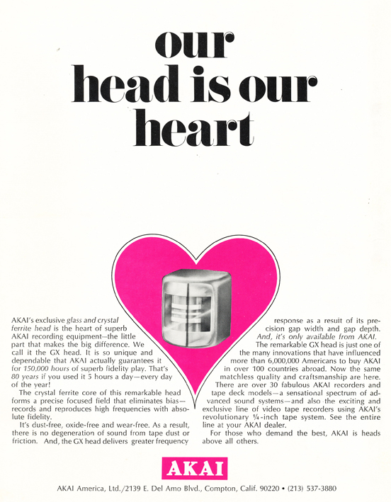 1971 ad for Akai reel to reel tape recorder heads in Reel2ReelTexas.com's vintage recording collection