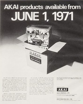 1971 ad announcing Akai's availability in the US