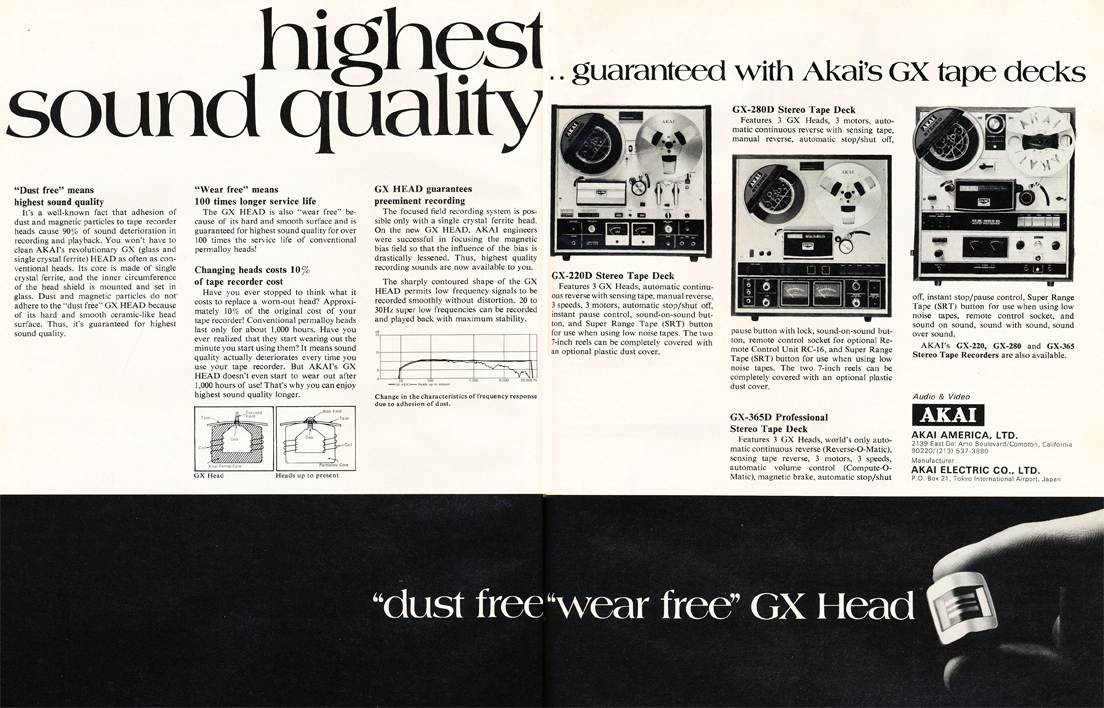 1971 Akai ad for the GX-220, the GX-280 and the GX-365 reel to reel tape recorders in the Reel2ReelTexas.com's vintage recording collection