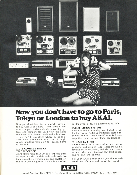 1971 ad for Akai reel to reel tape recorders reflecting that Akai could now sell their tape recorders in the US after an agreement with Roberts Recorders expired.  Ad is part of the Phantom Productions' vintage reel to reel recording collection