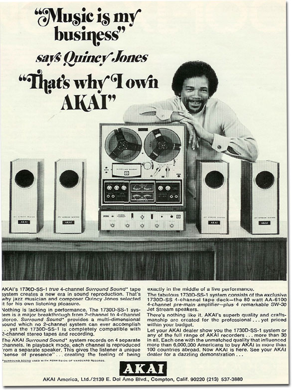 picture of 1971 Ad for Akai 1730-D Reel tape recorder featuring Quincy Jones
