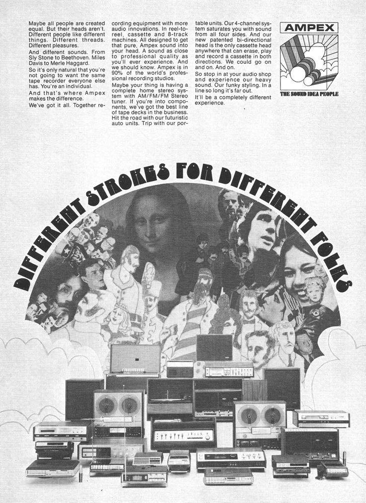 1971 ad for Ampex reel to reel tape recorders in Reel2ReelTexas.com's vintage recording collection