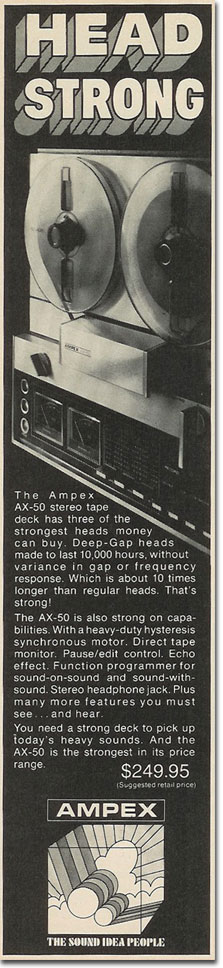 picture of 1971 Ampex tape recorder ad