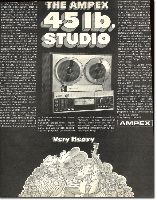 1971 Ampex AX-300 reel to reel tape recorder ad in the Reel2ReelTexas.com's vintage recording collection