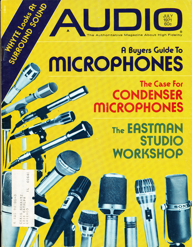 Cover of the July 1971 Audio magazine featuring microphones in Reel2ReelTexas.com's vintage recording collection