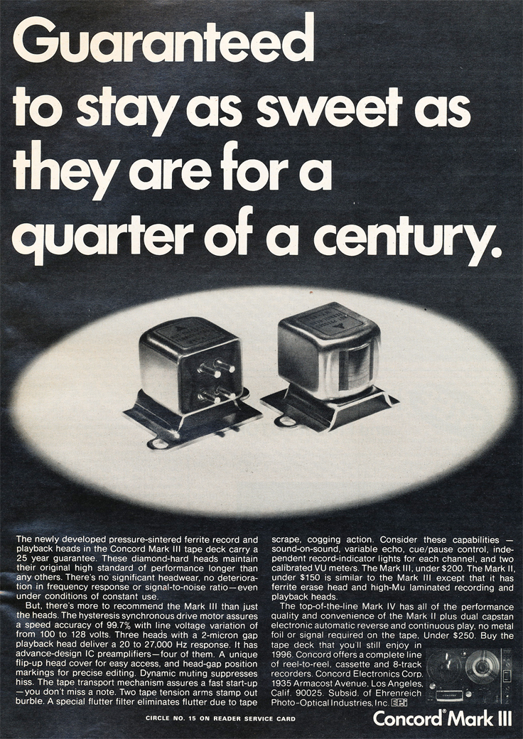 1971 ad for the Concord Mark III reel to reel tape recorders in Reel2ReelTexas.com's vintage recording collection