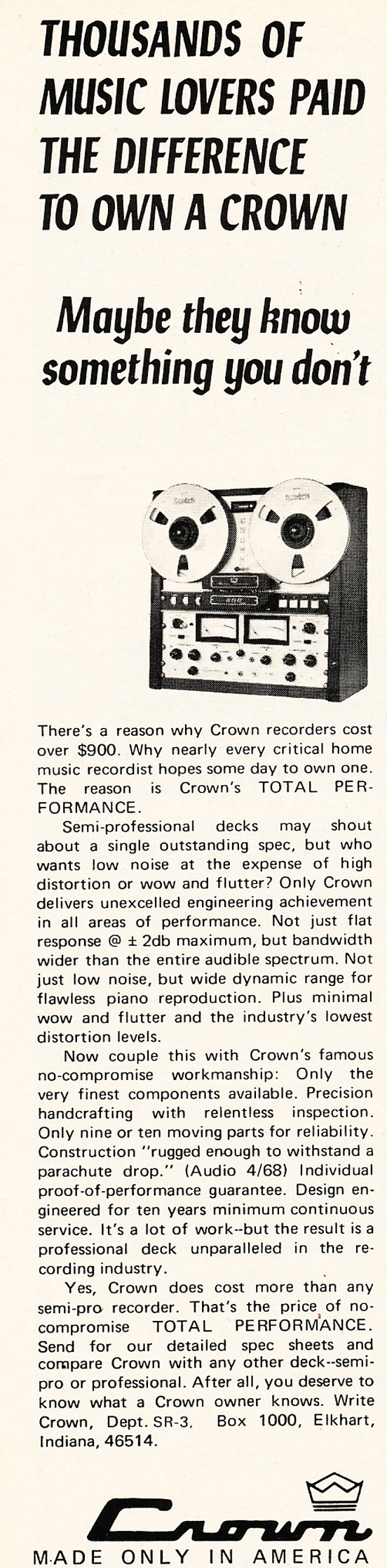 1971 ad for Crown professional reel to reel tape recorders in Reel2ReelTexas.com's vintage recording collection