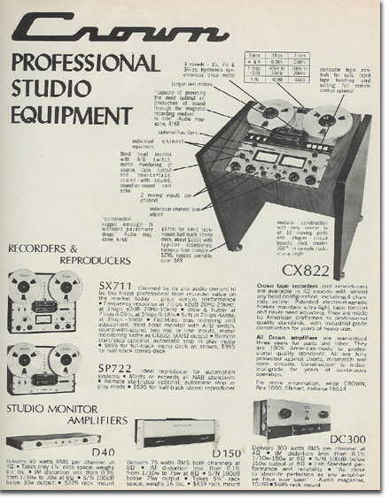 picture of 1971 Crown tape recorder ad