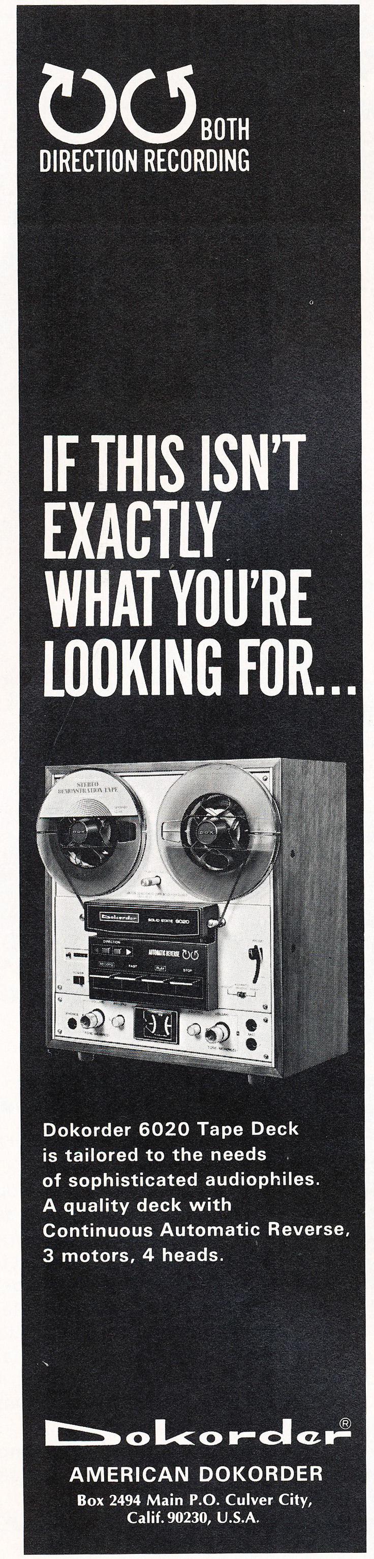 1971 ad for Dokorder 6020 reel to reel tape recorder in Reel2ReelTexas.com's vintage recording collection