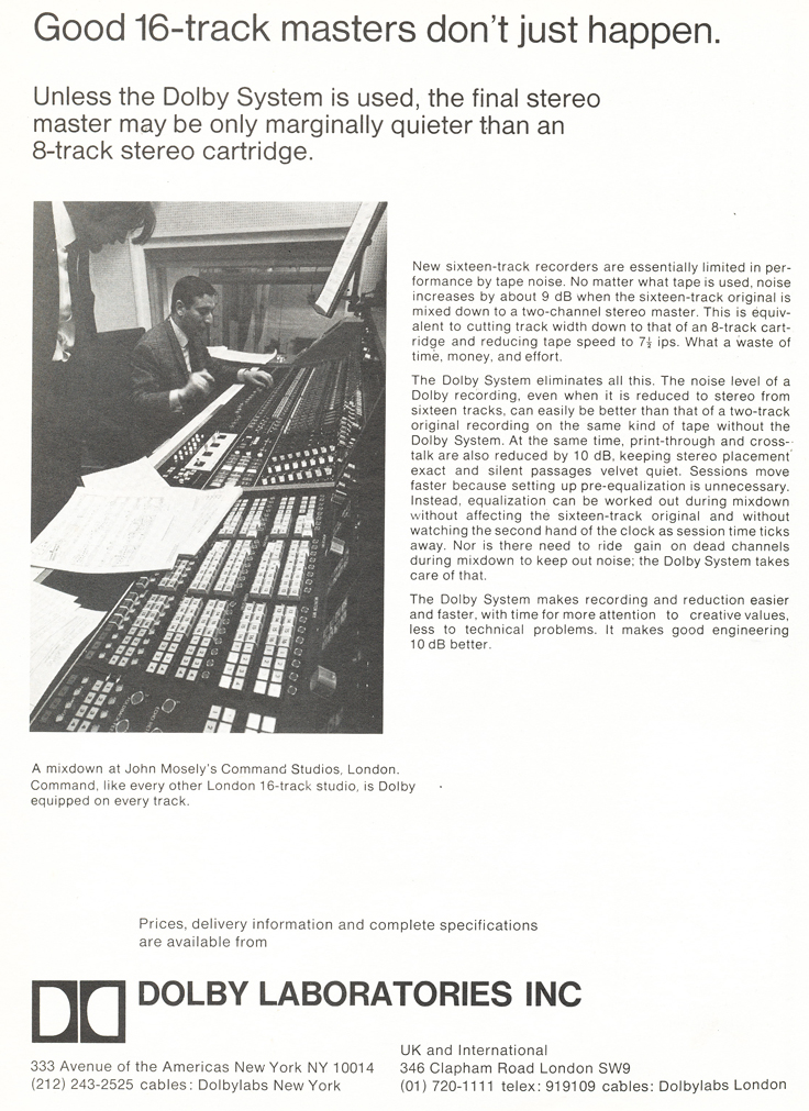 1971 ad for Dolby noise reduction in Reel2ReelTexas.com's vintage recording collection