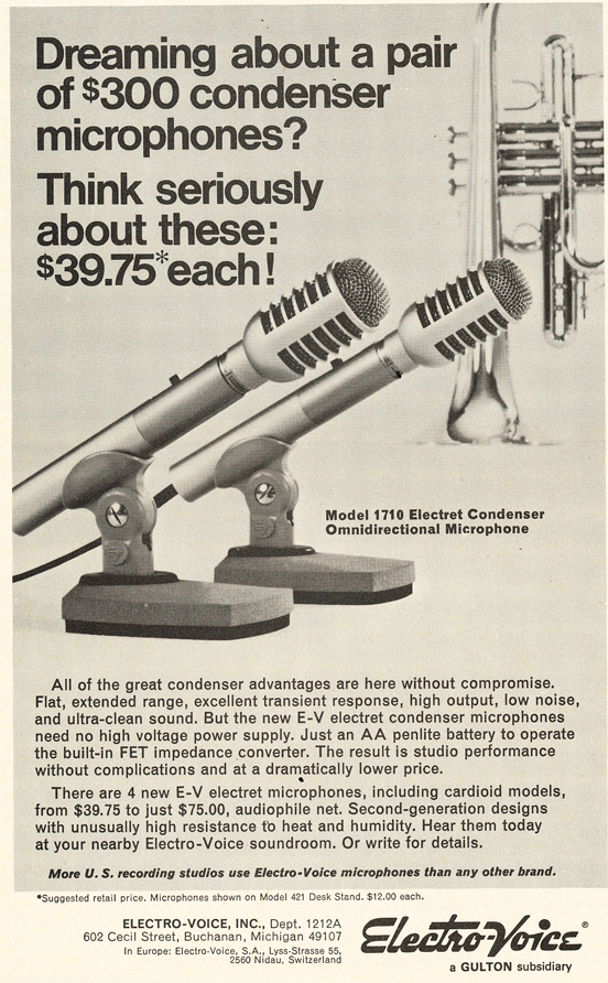 1971 ad for the Electro Voice 1710 microphone in Reel2ReelTexas.com's vintage recording collection